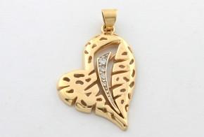 Златна висулка от   жълто злато с циркони  V0011