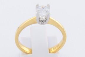 Годежен пръстен от бяло и жълто злато с циркон GD0123