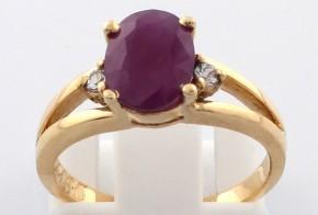 Годежен пръстен от жълто злато с рубин и сапфири D1165