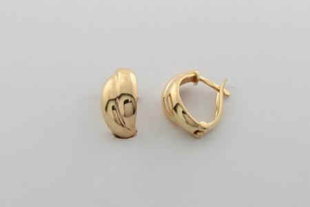 Дамски обеци  от жълто злато  с циркони  - 2,52 грама, дължина на обеците  14  мм. ,ширина  7 мм.