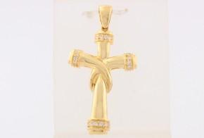 Златен кръст от  жълто злато с циркони VK0130