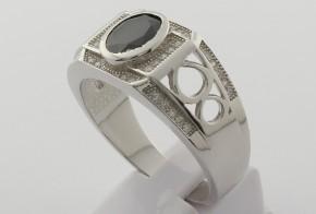Мъжки сребърен пръстен с циркони SM0034