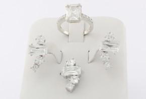 Дамски сребърен комплект с циркони SKT0006