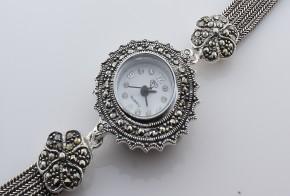 Дамски Сребърен часовник с марказити  CH0012
