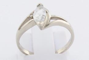 Годежен пръстен от бяло злато с циркони GD0147