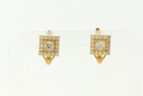 Детски златни обеци от жълто злато с циркони OBD0024