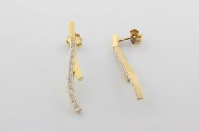 Дамски обеци от бяло и жълто злато  с циркони   - 3,34 грама, дължина на обеците 36 мм. ,ширина  6 мм.