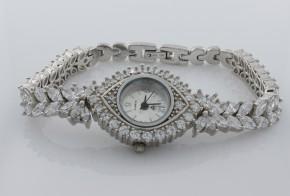 Дамски Сребърен часовник с циркони CH0001