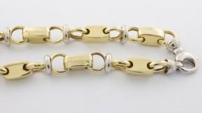 Златен синджир от бяло и жълто злато  С0026 - ширина 10 мм., дължина61 см.