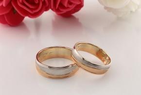 Брачни халки от бяло и розово злато BH0234