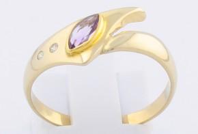 Дамски пръстен от жълто злато с аметист и диаманти D25