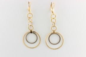 Дамски обеци от бяло и жълто злато    - 6,19 грама, дължина на обеците 70 мм. ,ширина  27мм.