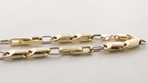 Златен мъжки синджир от бяло и жълто злато VC- С0006, дължина на синджира 59 см.