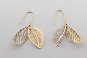 Дамски обеци от бяло и жълто злато    - 2,78 грама, дължина на обеците 45 мм. ,ширина  12мм.