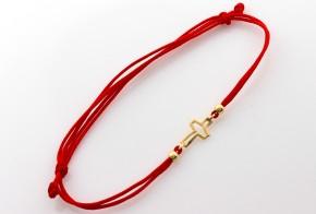 Златна гривна с червен конец с кръстче ZGC0009