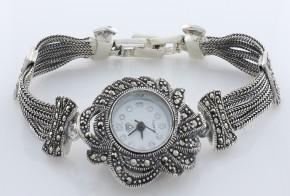 Дамски Сребърен часовник с марказити  CH0009