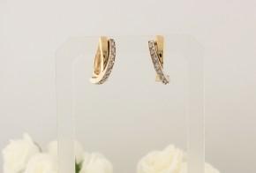 Златни обеци от бяло и жълто злато с циркони OB0079