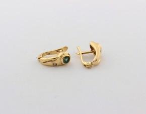 Обеци от жълто  злато с диаманти и турмалини - 3,00  грама, диаманти - 2*0,018 carata