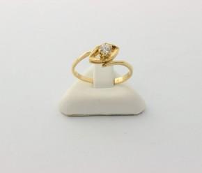 Годежен пръстен от жълто злато с циркон- 1,97  грама ,размер 56