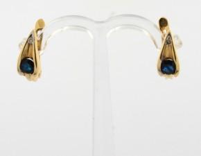 Обеци от жълто  злато с диаманти и сапфири - 3,00  грама, диаманти - 2*0,018 carata, сапфири - 2*0,48 ct