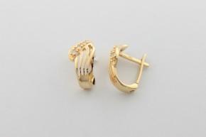 Дамски обеци  от жълто злато  с циркони  - 2,75  грама, дължина на обеците 15  мм. ,ширина  7 мм.