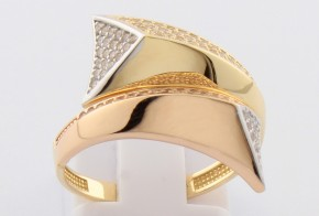 Дамски пръстен от бяло, розово и жълто злато с циркони DD0113