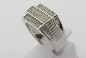 Мъжки сребърен пръстен с циркони SM0046