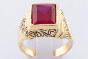 Мъжки пръстен от жълто злато с циркони MD0070