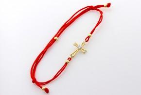 Златна гривна с червен конец с кръстче ZGC0001