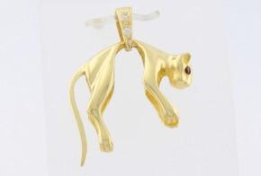 Златна висулка от жълто злато с циркони V0120