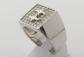 Мъжки сребърен пръстен с циркони SM0040