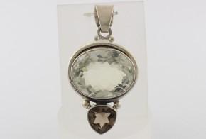 Сребърна висулка с планински кристал и опушен кварц SV0007
