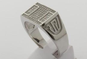 Мъжки сребърен пръстен с циркони SM0052