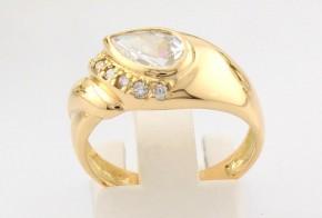 Дамски пръстен от жълто злато с циркони  DD0091