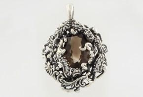 Сребърен медальон с опушен кварц и циркони CSD0014