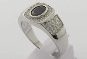 Мъжки сребърен пръстен с циркони SM0035