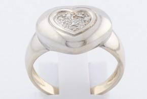 Дамски пръстен от бяло злато с диаманти D614