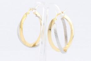 Златни обеци от бяло и жълто злато тип Версаче OB0135