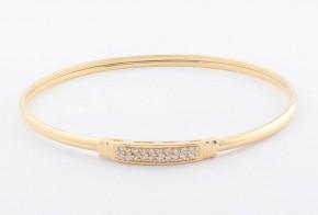 Златна твърда гривна от жълто злато с циркони GR0132