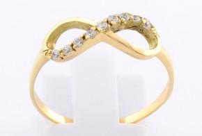 Дамски пръстен от жълто злато с циркони (безкрайност) DD0097