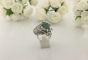 Дамски сребърен пръстен с изумруд SD30