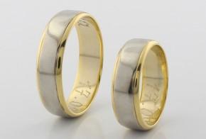 Брачни халки от бяло и жълто злато BH0281