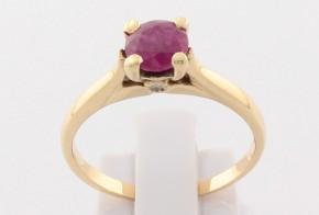 Годежен пръстен от жълто злато с рубин и диаманти D2103