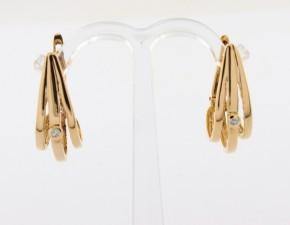 Обеци от  жълто злато с диаманти - 5,20 грама, диаманти- 2*0,021   carata