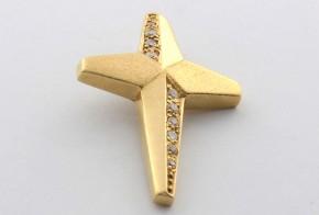 Златен кръст от  жълто злато с циркони VK0045