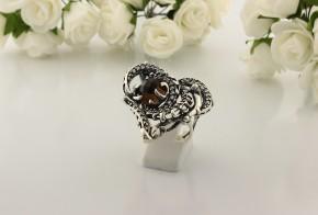 Дамски сребърен пръстен с пушен кварц SD29