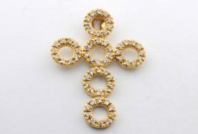 Златен кръст от жълто злато с циркони VK0006