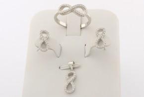 Дамски сребърен комплект с циркони SKT0012