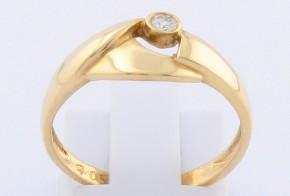 Дамски пръстен от жълто злато с диамант D705
