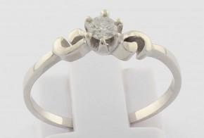 Годежен пръстен от бяло злато с диамант D2096
